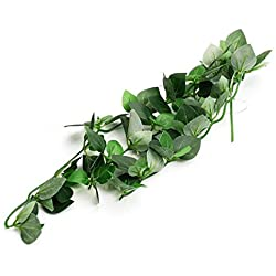 MOTINA Plastic Terrarium Plant Reptile Naturalistic Leaves Ornaments for Reptiles and Amphibians(Green)