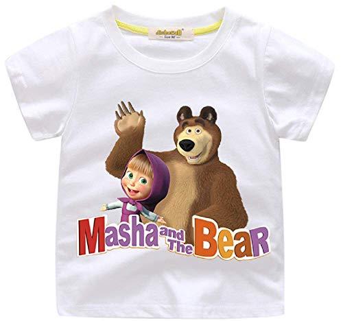 Indepence Life Girls' Masha and The Bear Short Sleeve T-Shirt Girls' Cartoon Characters Tee(White, 2T)