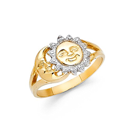 Solid 14k Yellow White Gold Sun & Moon Ring Band Polished Fancy Design Genuine Two Tone 10MM, Size 8 by ZenJewels (Image #1)