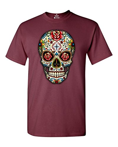 Sugar Skull Roses T-shirt Day of Dead Shirts #16553 Medium Maroon