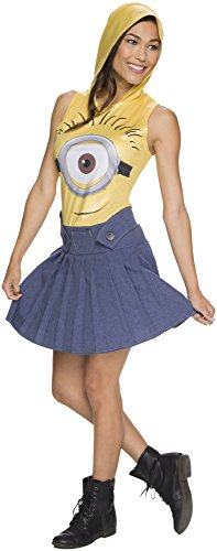 [Rubie's Costume Co Women's Minion Face Hooded Costume Dress, Yellow, Small] (Adult Minions Costumes)