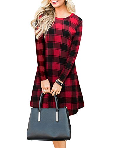(Blooming Jelly Women's Plaid Swing Dress Long Sleeve Round Neck Tunic Mini Dress (Small, Red))