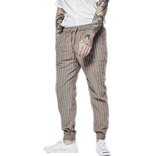 BaronHong Men's Striped Linen Slim Pants with Drawstring(Brown,M) ()