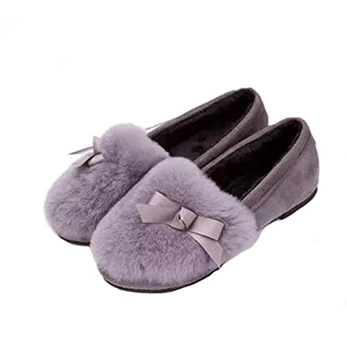 Angelliu Girls Winter Spring Plush Bow Low Top Flats Loafers Grey AnEVdfZab