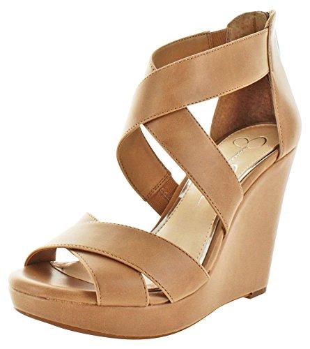 Jessica Simpson Handbags And Shoes - Jessica Simpson Womens Jadyn Leather Peep Toe Casual Platform, Buff, Size 11.0