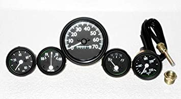 70 mph Speedometer Temp Oil Fuel Ampere for Willys MB Jeep FD CJ2A CJ3A in Green bezel and black face CJ GPW Gauges Kit