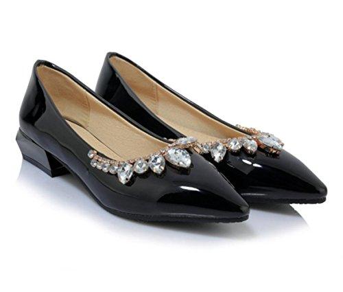 Scarpe singole poco profonde di svago del diamante di modo di estate delle donne di YCMDM di estate , black , 39