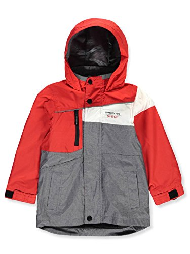 London Fog Little Boys' Hooded Rain Jacket - Gray, 5-6