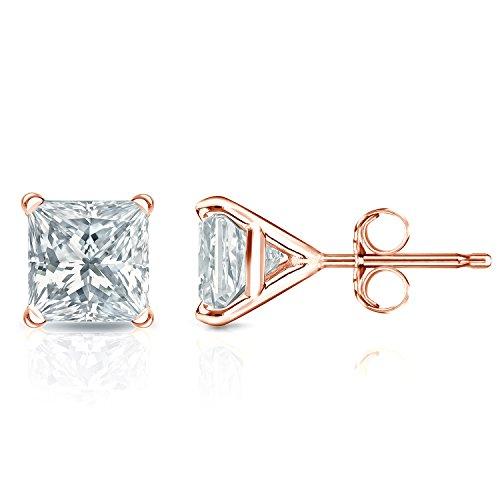 IGI Certified 14k Rose Gold 4-Prong Martini Princess Diamond Stud Earrings (2ct, White, SI1-SI2) ()