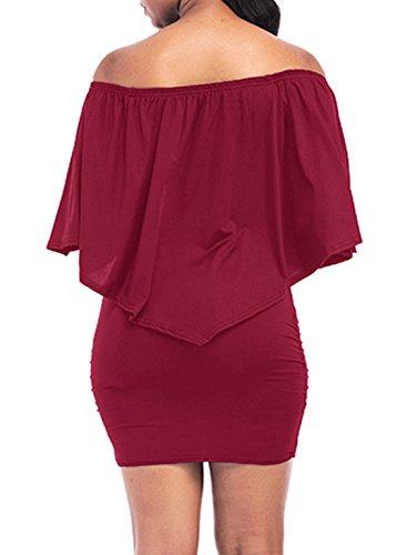 7b924208d350 ... Sommer Kurz Kleid Damen Schlank Sexy Ein Wort Kragen Schal Ärmel Kleider  Mode Einfarbig Etui Kleider ...