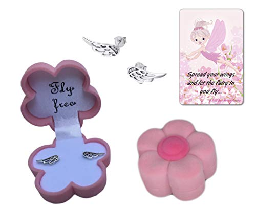 Delicate .925 Sterling Silver Fairy Angel Wings Post Earring Gift Set with Cubic Zirconia Accents in Pink Flower Jewelry Box with Fairy Quote