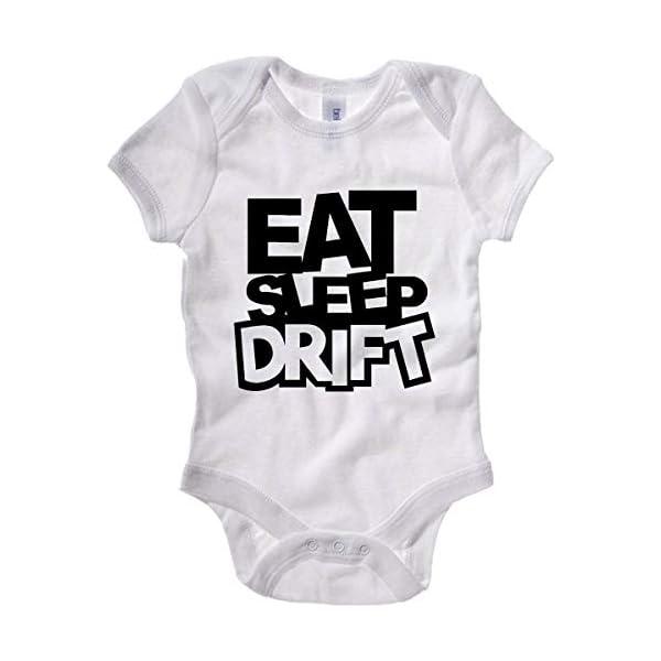 T-Shirtshock Body Bebe Blanc FUN1327 Eat Sleep Play Drift 1