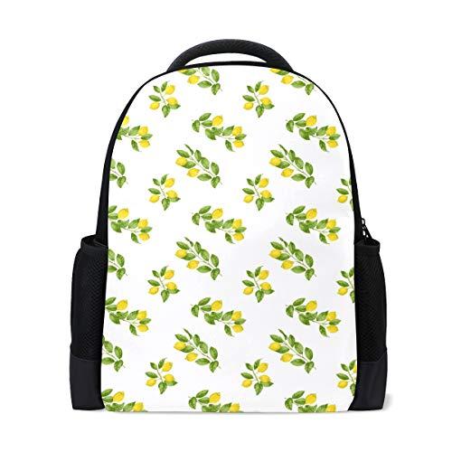 Classic Polyester Backpack School College Bookbag Laptop Computer Backpack Travel Rucksack Long Lemon The Leaves
