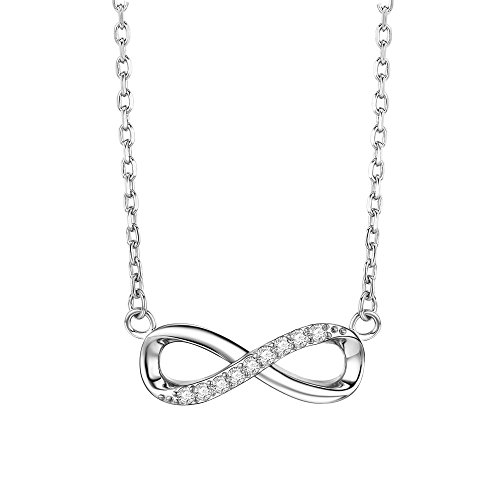 Sterling Silver Kiss - F.ZENI Women Necklace Silver 925 Sterling Silver Kisses Pendant Accent Infinity Forever Necklace for Women