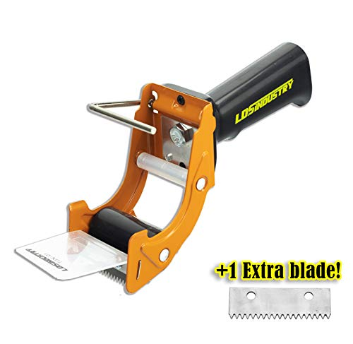 Rapid-Replace Packing Tape Dispenser Gun with Extra Blade by LDS Industry, 2 in (50mm) Lightweight Ergonomic Industrial Handheld Heavy Duty Tape Cutter for Carton, Packaging and Box Sealing, Orange