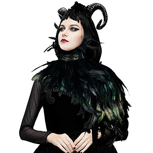 HOMELEX Gothic Black Real Feather Cape Shawl Shoulder Wings Choker Collar (YM-45) ()