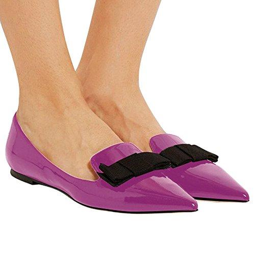 Flats Walking Dress Office Leather Flats Classic Pumps Flats Eldof Purple Pointed Patent Comfortable Women's Toe Pumps Flats 57FPRvqy