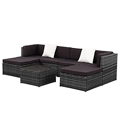 IKAYAA 7PCS Patio Garden Cushioned Furniture Outdoor Sectional Rattan Wicker Couch Sofa Set Ottoman Corner Design