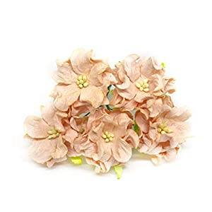 1.5 inch Peach Mulberry Paper Flowers with Wire Stems, Gardenia Flowers, Mini Paper Flowers, Wedding Decoration Craft Scrapbooking Flowers Bouquet 12 Pieces 10