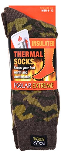 Men's Polar Extreme Insulated Thermal Camouflage Pattern Socks in 3 Great Colors (6-12, Woodland Camouflage) ()