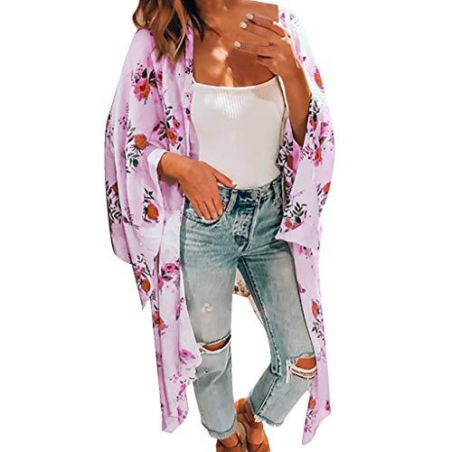 Three Quarter Sleeve Chiffon Long Cardigan Women Ladies Print Boho Shirt Tops Purple