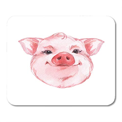 Semtomn Mouse Pad Pink Drawing Funny Pig Cute Watercolor Animal Face White Mousepad 9.8