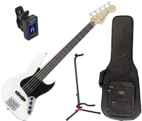 Fender Deluxe Active 5-String Jazz Bass (Olympic White - Rosewood Fingerboard) w/ Deluxe Gig Bag, Stand, and (Fender Jazz Bass Five)