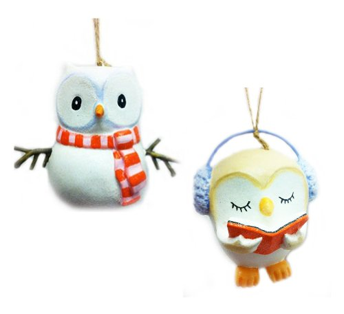Set of two glitter Christmas Owl ornaments.