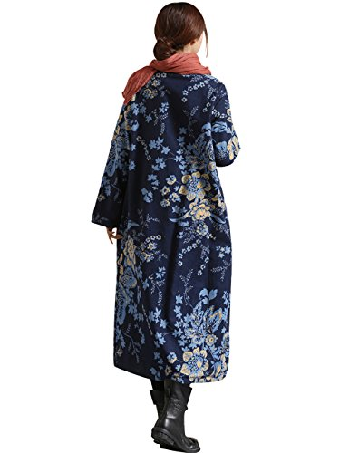 Bleu Youlee Imprimé Femmes breasted Supporter Single Coat Trench Collier RnPgxn
