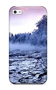 Awesome Winter Trees Fog River Snow Amp Digital Flip Case With Fashion Design For Iphone 5c