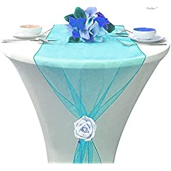 "Table Runner Centerpiece 12"" X 108"" Dresser Cover Wedding Reception or Party Fall Decorations Pack of (5, Turquoise)"