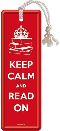 "Nostalgic-Art 45044 United Kingdom Keep Calm and Read On - Marcapáginas de metal (5 x 15 cm), diseño con texto""Keep Calm and Read On"""