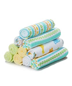 Spasilk 10 pack Soft Terry Washcloth- Yellow Stripes