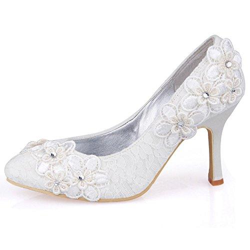 Kevin Fashion mz620Ladies mz620flores elegante encaje novia boda noche fiesta zapatos de bombas, color Beige, talla 43