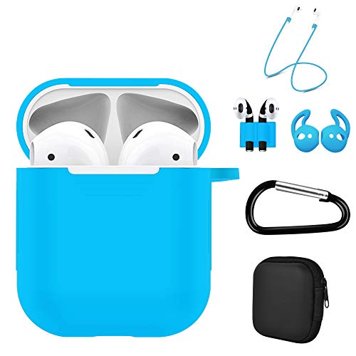 Luvcase 6 in 1 Airpods 2 & 1 Case, Accessories Kits Airpods Charging Cover Skin with Anti-Lost Carabiner Clips Keychain/Ear Hook Grips/Airpods Straps/Watch Band Holder/Airpods Case Holder (Light Blue)