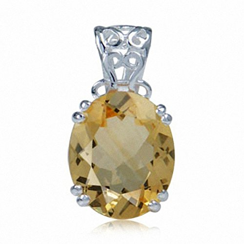 4ct. Natural Citrine 925 Sterling Silver Filigree Solitaire ()