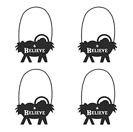 Hanging Christmas Ornaments Silhouette.Christmas Ornaments Metal Silhouette Believe Manger Hanging 4 1 2 Inches Pack Of 4