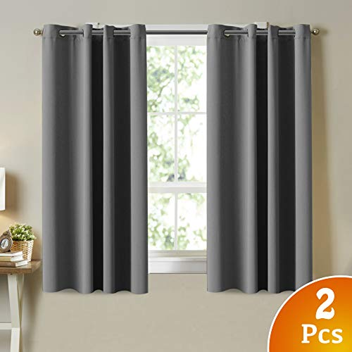 Turquoize Blackout Curtains 2 Panels Set Room Darkening Drapes Thermal Insulated Solid Grommets Window Treatment Pair for Bedroom Draperies for Living Room, 52