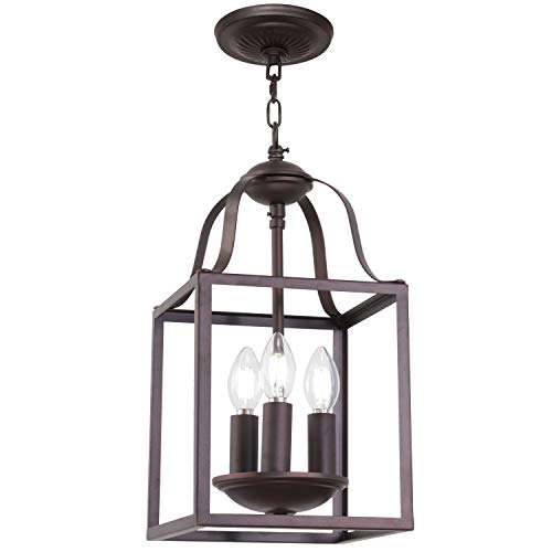MELUCEE 3-Light Lantern Pendant Light Farmhouse Chandelier Bird Cage 8 Inches Oil Rubbed Bronze Light Fixtures Ceiling Hanging for Foyer Dining Room Entry Hallway, E12 Base Classic Bronze Foyer Pendant