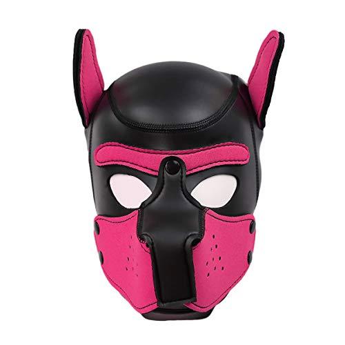 Meihuida Neoprene Full Face Mask Dog Puppy Hood Custom Animal Head Mask Novelty Costume Dog Head Masks (Black+Rose -