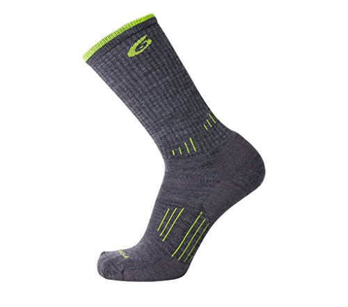 Point 6 Hiking Essential, Medium, Crew, Gray/SuperLime, Extra Large with a Helicase sock ring