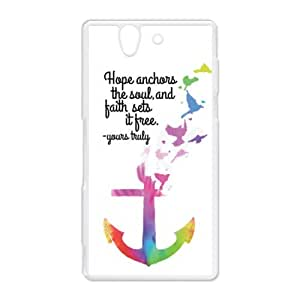 Sony Case Cover - Hope Faith Anchor Bible Quote Design designed for Sony Xperia Z Hard Plastic Case