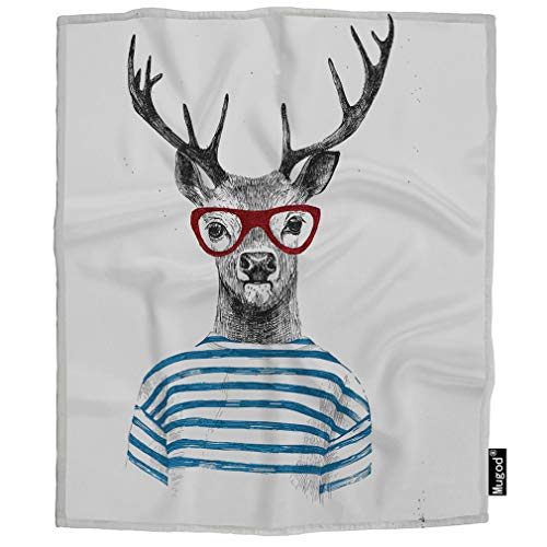 Mugod Dressed Up Deer Blanket Animal Deer Glasses Beautiful Funny Blue Stripped Shirt Fuzzy Soft Cozy Warm Flannel Throw Blankets Decorative for Boys Girls Toddler Baby Dog Cat 40X50 Inch