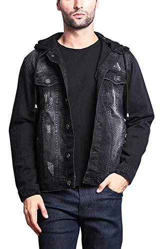 layered hooded leather jacket - 9