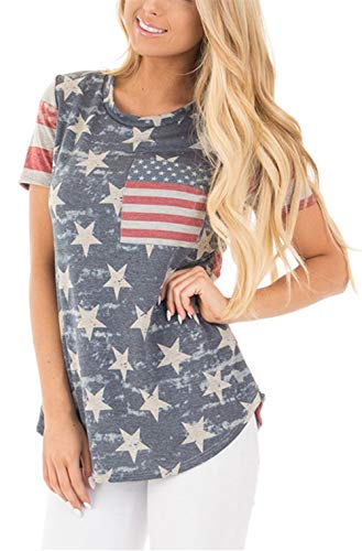 Womens American Flag Shirt Short Sleeve USA 4th of July Flag Top Loose T-Shirts