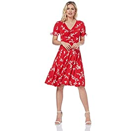 Roman Originals Women Floral Print Fit & Flare Skater Dress – Ladies Stretch Jersey Casual Summer Spring Party Beach Cruise Holiday V-Neck Short Sleeve Knee Length