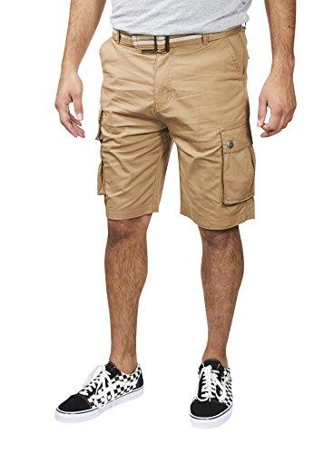VINTAGE GENES Mens Stretch Poplin Cotton Cargo Shorts Deep Khaki Green Size 30 (Cargo Vintage Khakis)