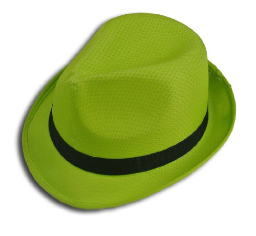 Fedora Hat Fashion Unisex Trilby Cap Summer Beach Sun Straw Panama (Lime) ()