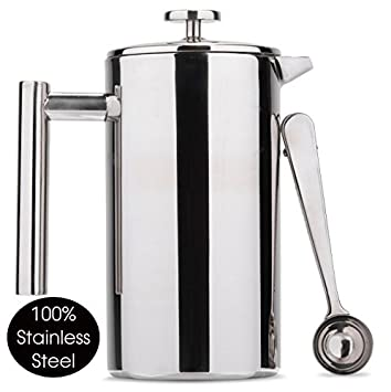 Máquina de café Meelio French Press, 1000ml / 34 oz Café de pared doble Cafetiere