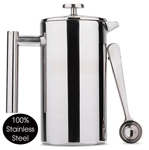 Es Perto Stainless Steel French Press Coffee Maker | 34 Ounce, Double Wall Insulated, Manual, Portable, Chrome Finish - Java Chrome Wall
